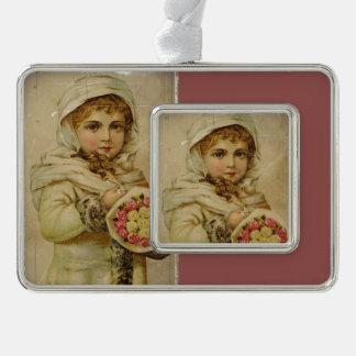 Viktorianisches Mädchen mit Rosen Rahmen-Ornament Silber