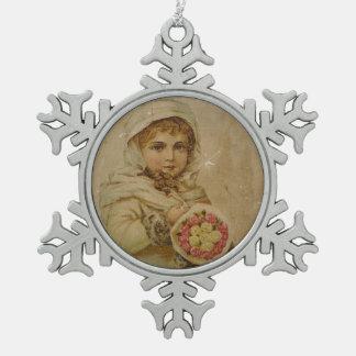 Viktorianisches Mädchen mit Rosen Schneeflocken Zinn-Ornament