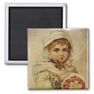Viktorianisches Mädchen mit WeihnachtsRosen Quadratischer Magnet
