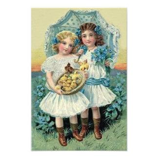 Viktorianisches Mädchen-Ostern-Küken vergessen Photo Drucke