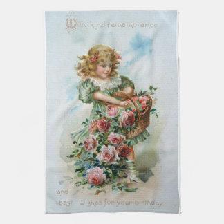 Viktorianisches Mädchen-Rosen-Geburtstags-Antiken- Geschirrtuch