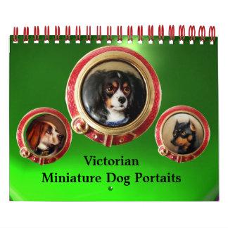 VIKTORIANISCHES MINIATURhundeporträts 2017 Grün Kalender