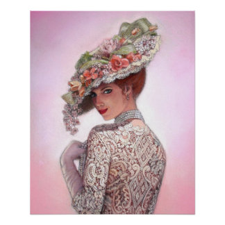 Viktorianisches Plakat Dame Decor Portrait Art