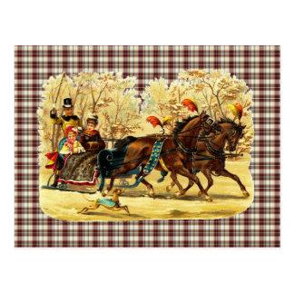 Viktorianisches Sleigh-Fahrweihnachten Postkarte