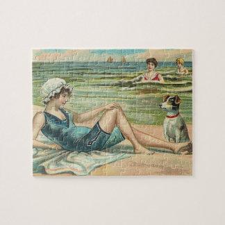 Viktorianisches Strand-Badeanzug-Mädchen Puzzle
