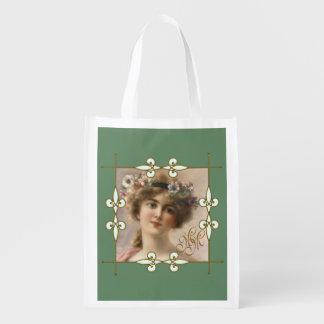 Viktorianisches Vintages Kunst Nouveau Wiederverwendbare Einkaufstasche