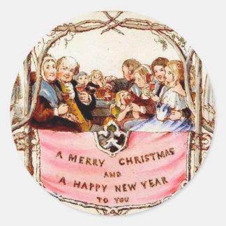 Viktorianisches Weihnachten Runder Aufkleber