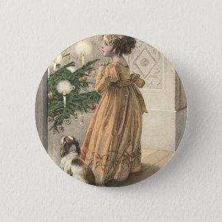Viktorianisches WeihnachtsRetro Vintager Feiertag Runder Button 5,7 Cm