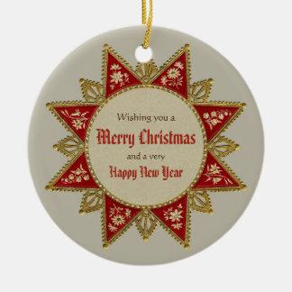 Viktorianisches Weihnachtsstern Gold rotes Keramik Ornament