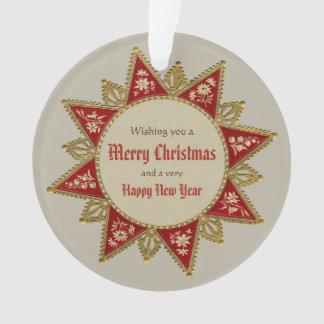 Viktorianisches Weihnachtsstern Gold rotes Ornament