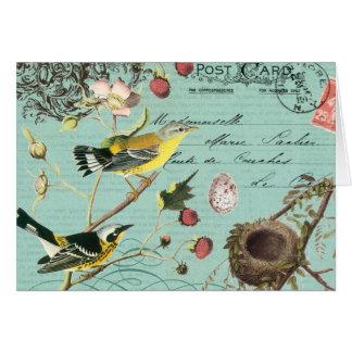 Vinage französisches Vögel notecard Karte