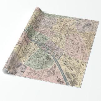 Vinage Karte von Paris Frankreich (1878) Geschenkpapier