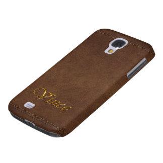 VINCE kundenspezifischer Leder-Blick Handy-Fall Galaxy S4 Hülle