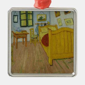 Vincen Van Gogh - Schlafzimmer in Arles Malerei Quadratisches Silberfarbenes Ornament
