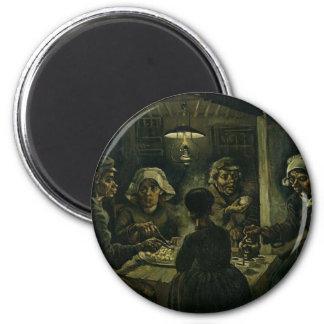 Vincent van Gogh das Kartoffel-Esser-Malen. Kunst Runder Magnet 5,7 Cm