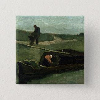 Vincent van Gogh | das Torf-Boot, 1883 Quadratischer Button 5,1 Cm