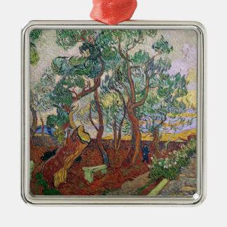 Vincent van Gogh | der Garten von St- Quadratisches Silberfarbenes Ornament