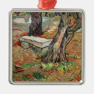 Vincent van Gogh | die Bank am Heiligen-Remy Quadratisches Silberfarbenes Ornament