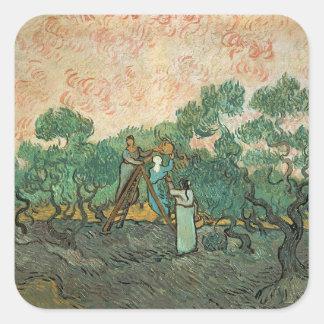Vincent van Gogh   die olivgrünen Pflücker, Quadratischer Aufkleber