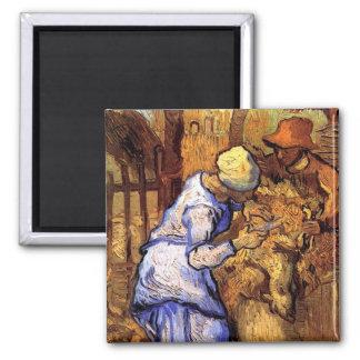 Vincent van Gogh - die Schaf-Schermaschinen - Quadratischer Magnet