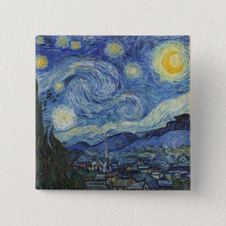 Vincent van Gogh | die sternenklare Nacht, im Juni Quadratischer Button 5,1 Cm