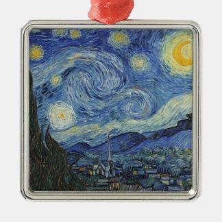 Vincent van Gogh | die sternenklare Nacht, im Juni Quadratisches Silberfarbenes Ornament