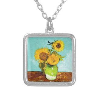 Vincent van Gogh drei Sonnenblumen in einem Vase Versilberte Kette