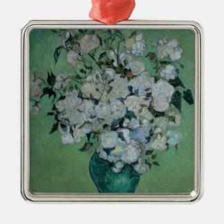 Vincent van Gogh | ein Vase Rosen, 1890 Quadratisches Silberfarbenes Ornament