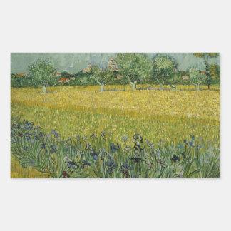 Vincent van Gogh - Feld mit Blumen nähern sich Rechteckiger Aufkleber