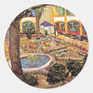 Vincent van Gogh - Garten des Krankenhauses in Runder Aufkleber