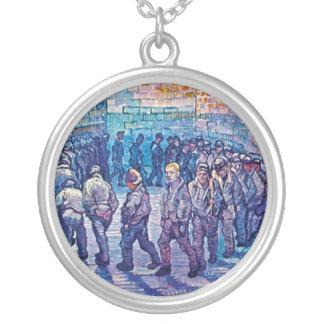 Vincent van Gogh - gehende Gefangene die Runde Versilberte Kette