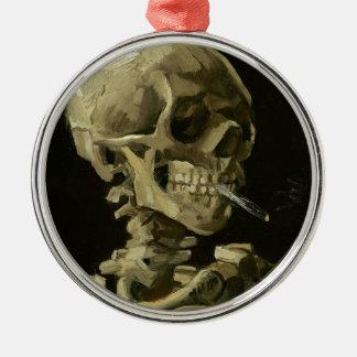 Vincent van Gogh-Kopf eines Skeletts mit Zigarette Silbernes Ornament