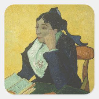 Vincent van Gogh - Madame Ginoux mit Büchern Quadratischer Aufkleber