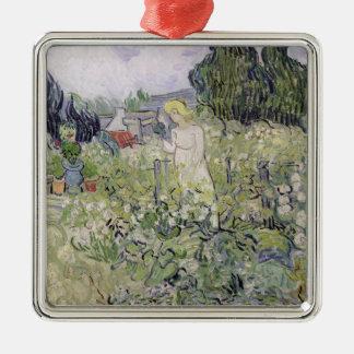 Vincent van Gogh | Mademoiselle Gachet im Garten Quadratisches Silberfarbenes Ornament