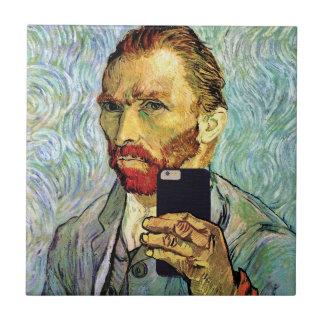 Vincent van Gogh-Mobiltelefon Selfie Selbstporträt Keramikfliese