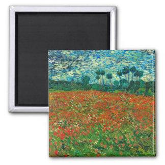 Vincent van Gogh Mohnblumen-Feld-Vintage mit Quadratischer Magnet