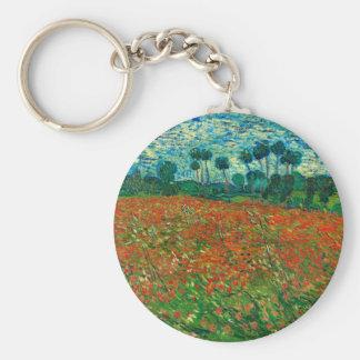 Vincent van Gogh Mohnblumen-Feld-Vintage mit Standard Runder Schlüsselanhänger