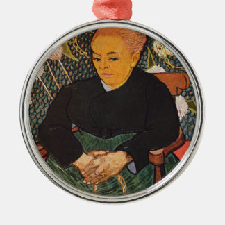 Vincent van Gogh - nette alte Dame Porträt Rundes Silberfarbenes Ornament