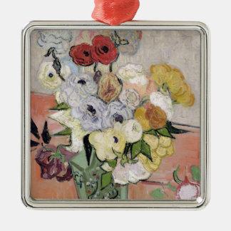 Vincent van Gogh | Rosen und Anemonen, 1890 Quadratisches Silberfarbenes Ornament