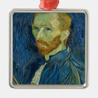 Vincent van Gogh-Selbstporträt-Kunstwerk Quadratisches Silberfarbenes Ornament