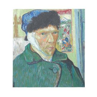 Vincent van Gogh-Selbstporträt mit dem verbundenen Notizblock