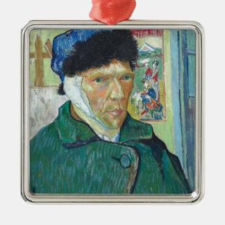 Vincent van Gogh-Selbstporträt mit dem verbundenen Quadratisches Silberfarbenes Ornament