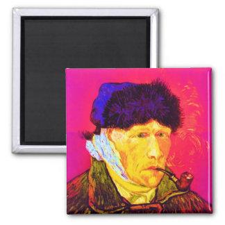 Vincent van Gogh - Selbstporträt-Verband-Pop-Kunst Quadratischer Magnet