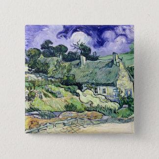 Vincent van Gogh | Thatched Hütten bei Cordeville Quadratischer Button 5,1 Cm