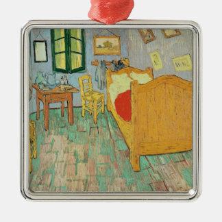 Vincent van Gogh | Van Gogh Schlafzimmer bei Arles Quadratisches Silberfarbenes Ornament