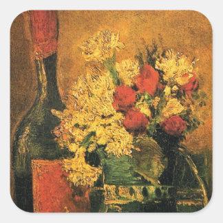Vincent van Gogh - Vase mit Gartennelken-schöner Quadratischer Aufkleber