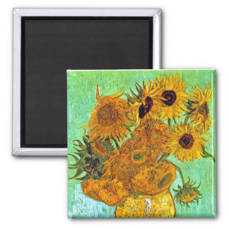 Vincent van Gogh - Vase mit zwölf Sonnenblumen Quadratischer Magnet