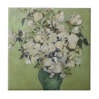 Vincent van Gogh Vase Rosen, die Blumenkunst malen Fliese