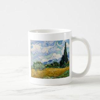 Vincent van Gogh-Weizen-Feld mit Zypressen-Kunst Kaffeetasse