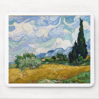 Vincent van Gogh-Weizen-Feld mit Zypressen-Kunst Mousepad